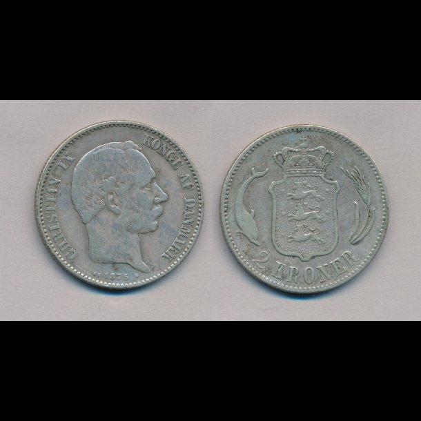 1875, Christian IX, 2 krone,  1 (+)