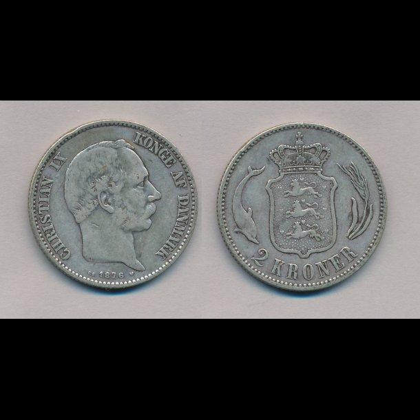 1876, Christian IX, 2 kroner, 1+