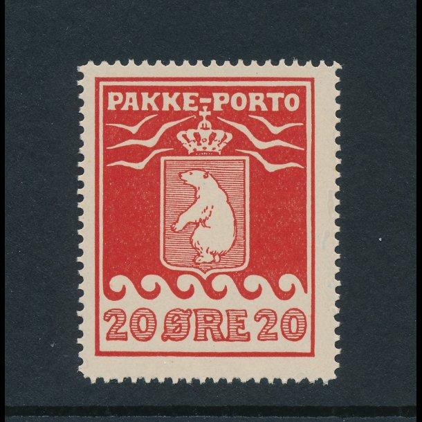 .9, **, Pakke-porto, 20 øre, rød,