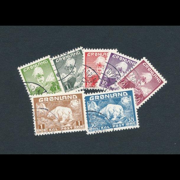 .1-7, ʘ, Kong  Christian X og isbjørn, 1938, 4069