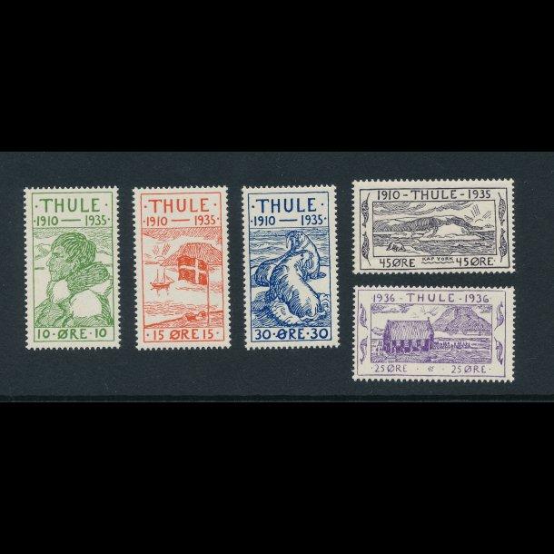 . 1 -5, **, Thule, 1935, 25 året for stationens oprettelse samt kirken i Thule, 4078