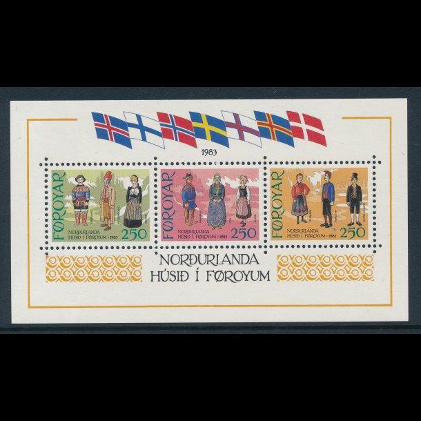 .84-86, **, Nordens hus, Færø frimærker miniark, 4909