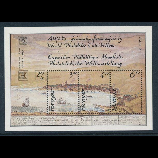 .133-135, **, Færøerne miniark, Frimærkeudstillingen Hafnia 87, 4910