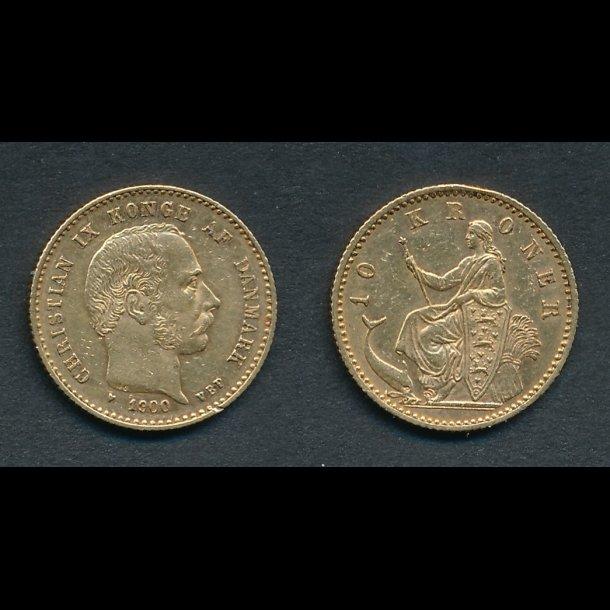 1900, Christian IX, 10 kroner, 01 / 1+,