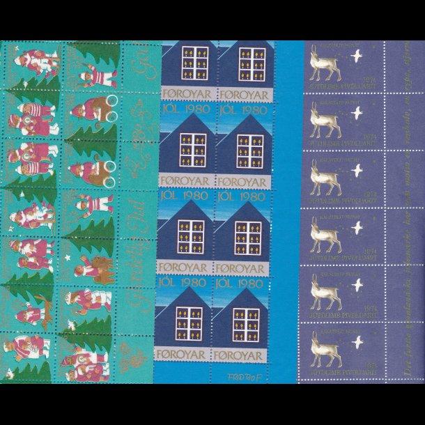20 år gammel lagerparti af julemærke helark, fra før 1990, lbnr 3036,