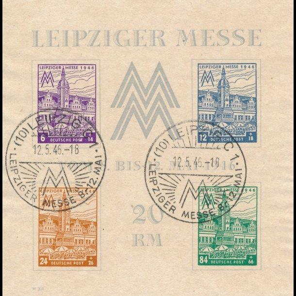 .41-44, Westsachsen, Allieret besættelse 1946, Leipzig messe, miniark, ʘ