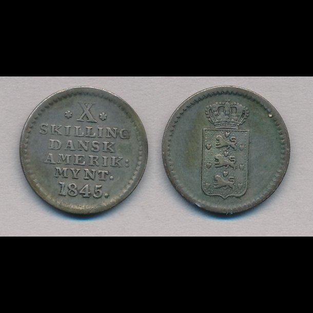 1845, Dansk Vestindien, Dansk Amerikansk mønt, X skilling, 1+