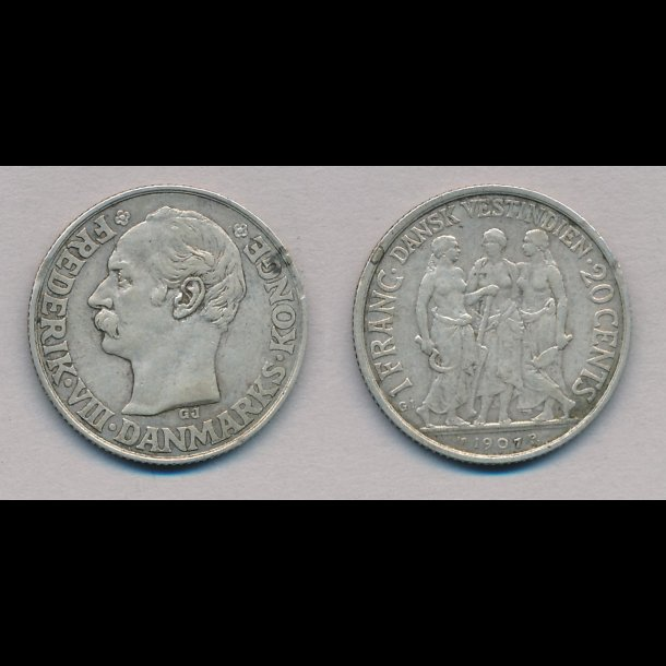 1907, Dansk Vestindien, 1 franc, 1+,