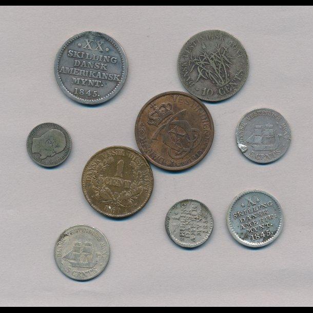 9 mønter fra Dansk VestIndien, forskellige værdier, forskellige årstal,