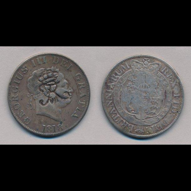 1818, Dansk Vestindien, England, Georg III, 1/2 crown, kontramarkeret med kronet Fr. VII,