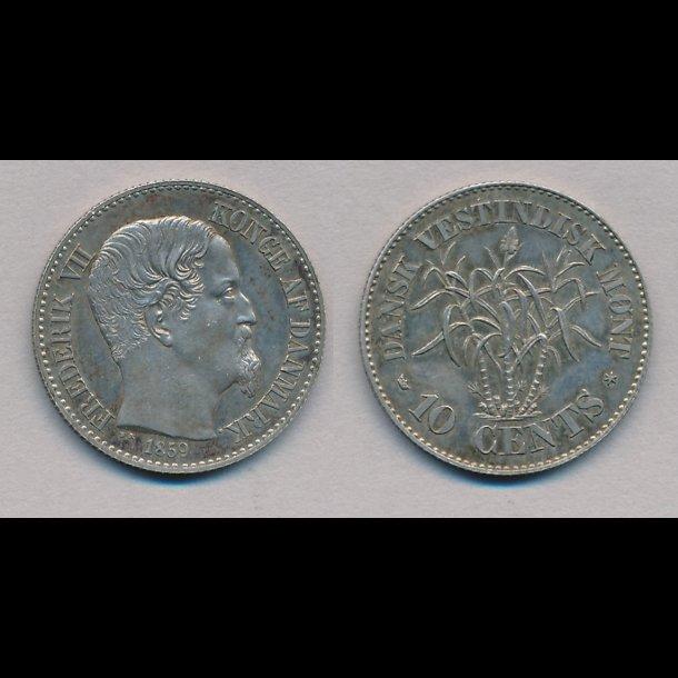 1859, Dansk Vestindien, Frederik VII, 10 cents, 0 / 01 / M