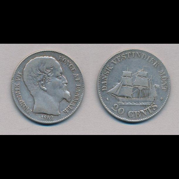 1862, Dansk Vestindien, Frederik VII, 20 cents, 1+