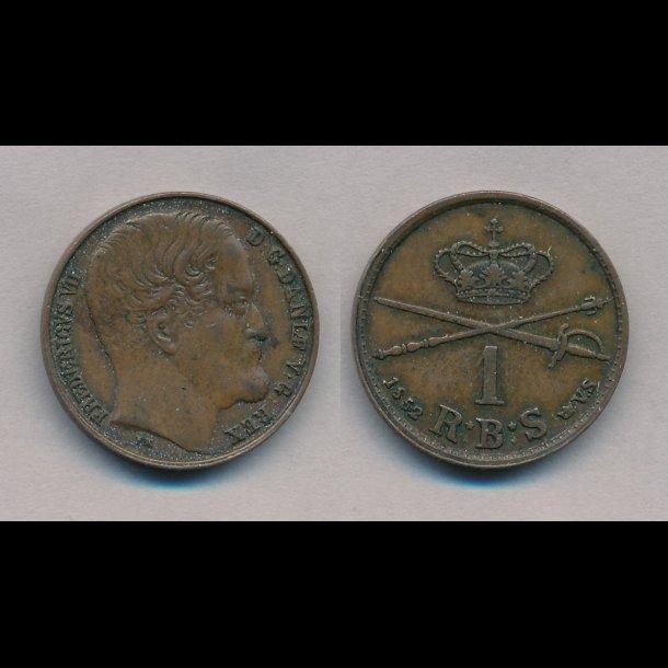 1852, Frederik VII, 1 Rigsbank skilling, VS, stort hoved, 1++, S2,