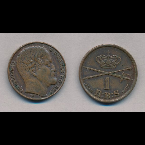 1852, Frederik VII, 1 Rigsbank skilling, stort hoved, VS, 1+, S2,
