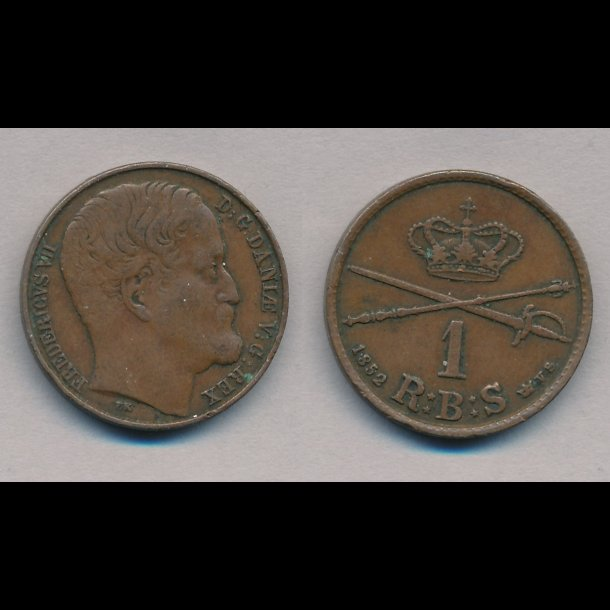 1852, Frederik VII, 1 Rigsbank skilling, VS, stort hoved, 1(+), S3