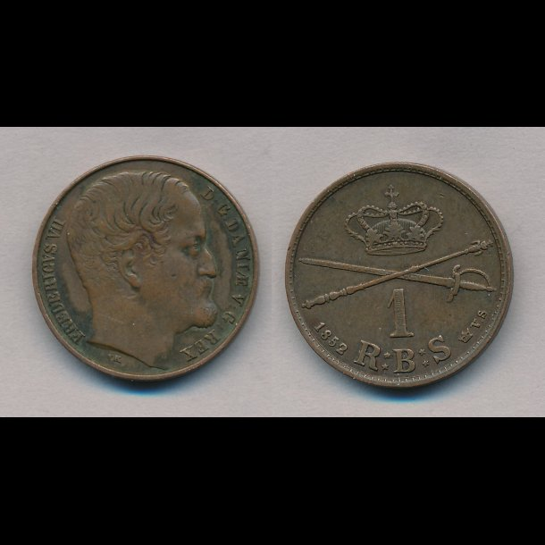 1852, Frederik VII, 1 Rigsbank skilling, VS, stort hoved, S3