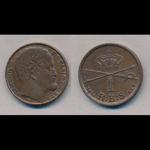 1852, Frederik VII, 1 Rigsbank skilling, VS, stort hoved, 01, S2, H12A