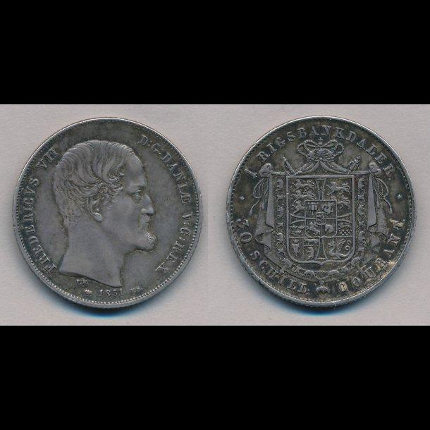 1851, Frederik VII, 1 Rigsbankdaler, 1+, q