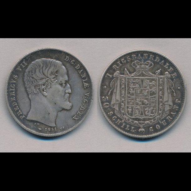 1851, Frederik VII, 1 Rigsbankdaler, 1+