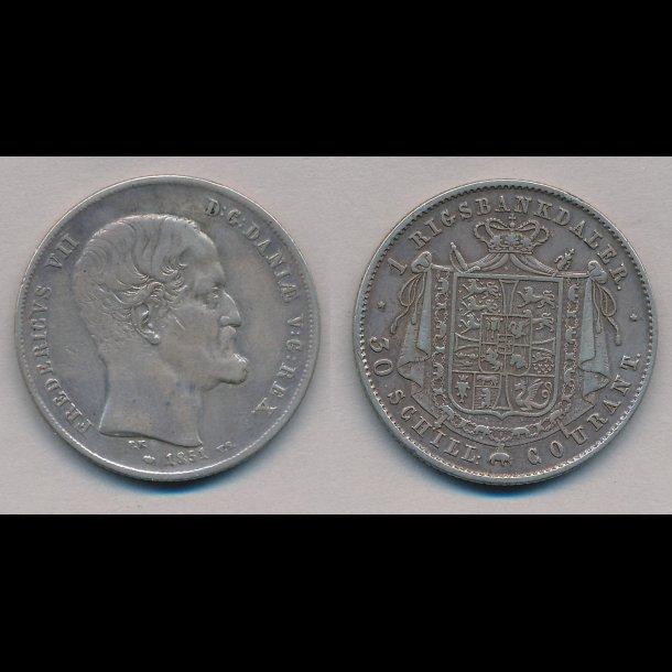 1851, Frederik VII, 1 Rigsbankdaler, 1 (+),