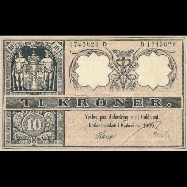 1909, 10 kroner, Danmark, D 1745828, 1+