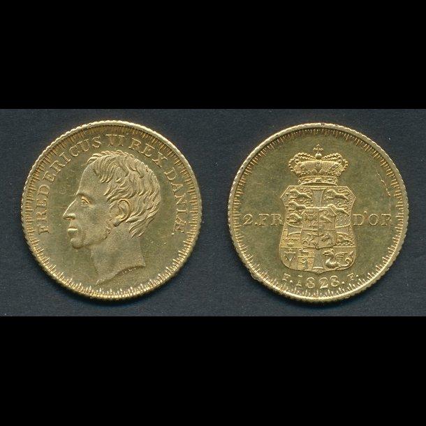 1828, 2 Frederik d'or, 01, H3,