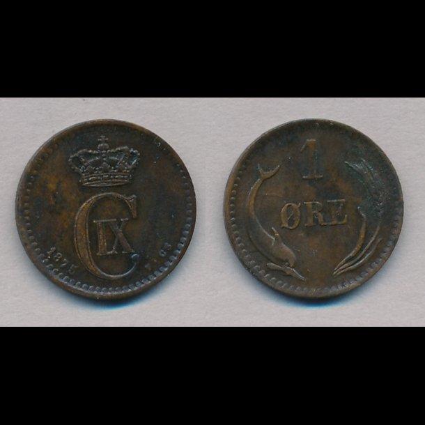 1875, Christian IX, 1 øre, 1+,