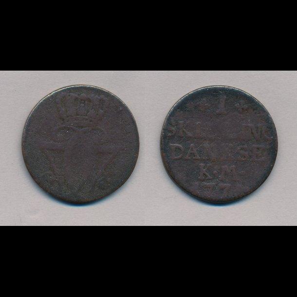 1771, 1 skilling DANKSE,  Christian VII, KM, 1-