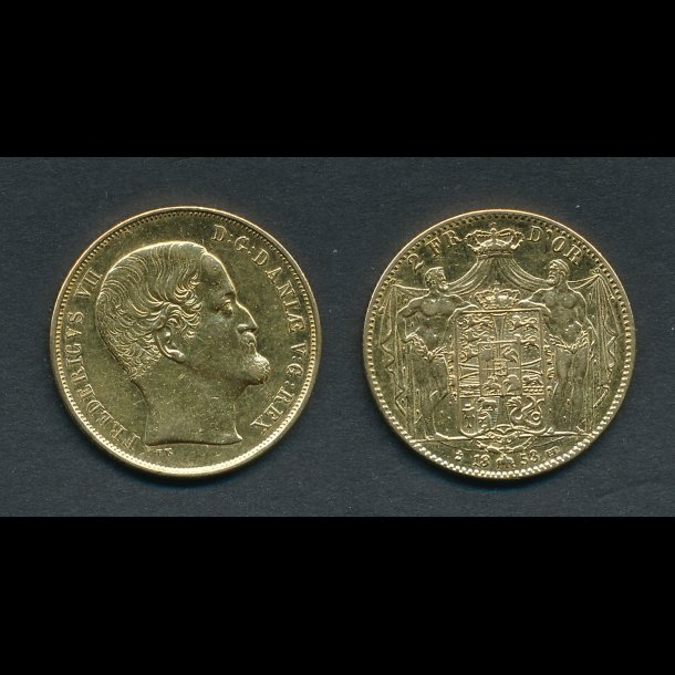 1853, Frederik VII, 2 Fr D'OR, 1+ pudset