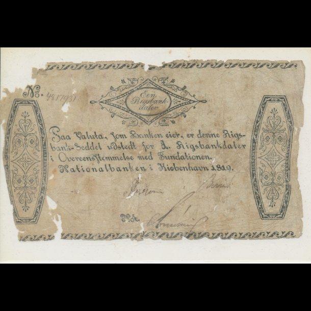 1819, Een Rigsbank daler, 3, seddel, S70,