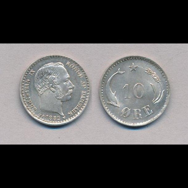 1882, Christian IX, 10 øre, sølv, 0,