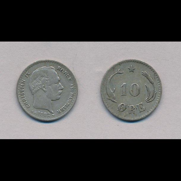 1882, Christian IX, 10 øre, sølv, 1,