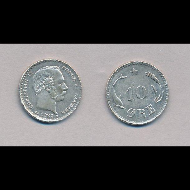 1882, Christian IX, 10 øre, sølv, 1+,