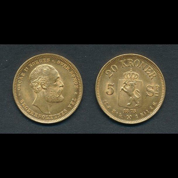 1875, Oscar II, Norge, 20 kroner, 01,