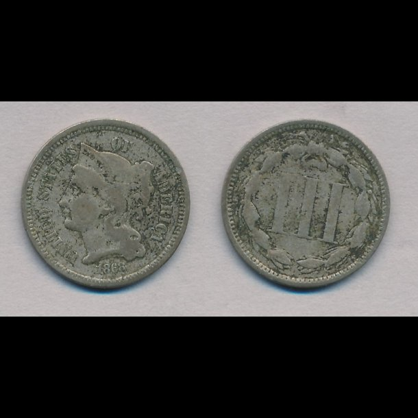 1868, USA, III cents,