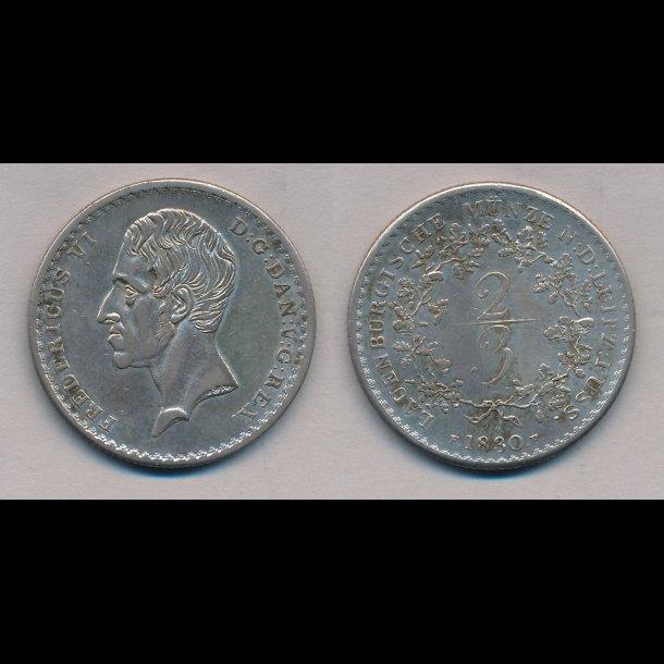 1830, Frederik VI, Lauenborg, 2/3 thaler / zweidrittel, 01, 44H1,