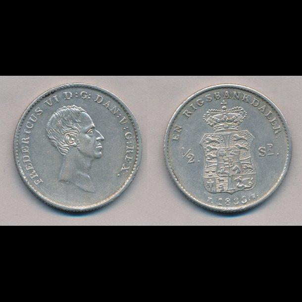 1833 FF, Frederik VI, 1 rigsbankdaler, 01, H27A,