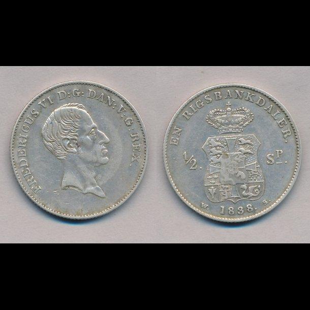 1838 WS, Frederik VI, 1 rigsbankdaler, H27C,