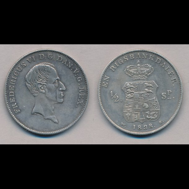 1838, Frederik VI, en rigsbankdaler, 1++, 27C,