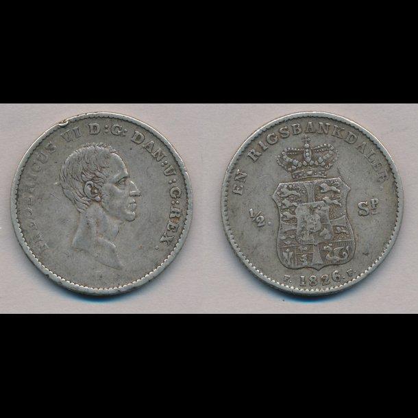 1826, Frederik VI, en rigsbankdaler, 1+,