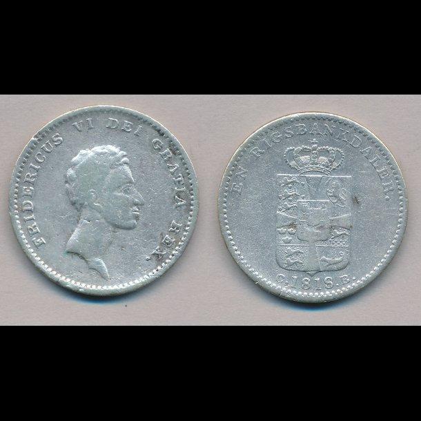 1818, Frederik VI, 1 rigsbank daler, 1, H24D,