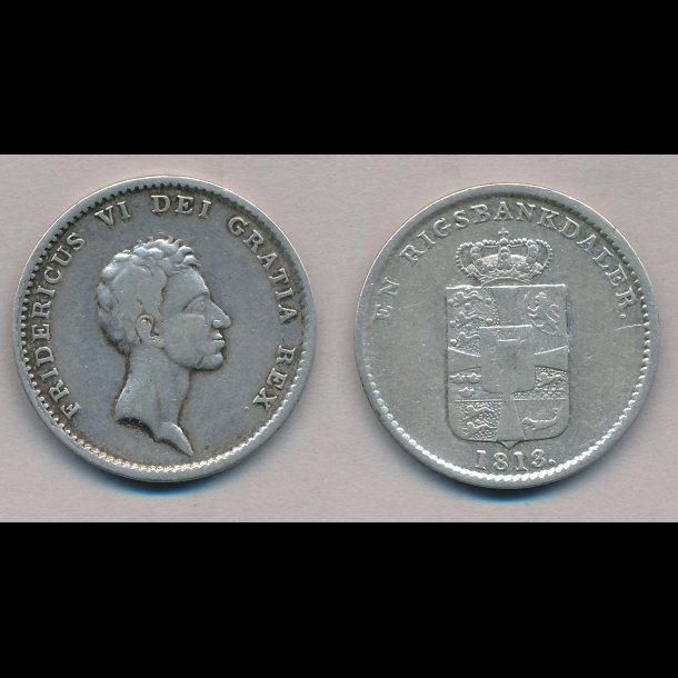 1813, Frederik VI, en rigsbankdaler, 1 / 1+, H24B,