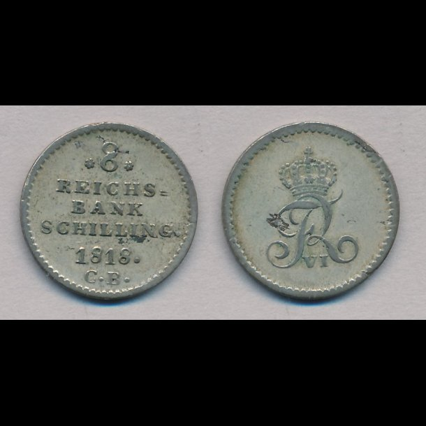 1818, Frederik VI, 8 rigsbank skilling, 1+, H31B, Nedsat !!