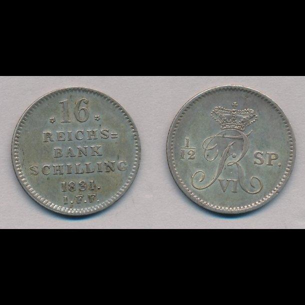 1831, Frederik VI, 16 rigsbank skilling, 1++, H30C,