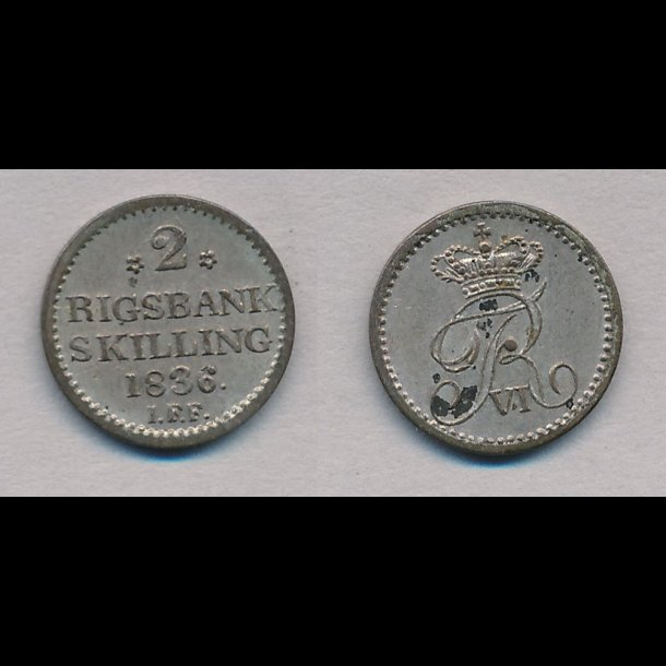 1836, Frederik VI, 2 rigsbank skilling, 0, H33,