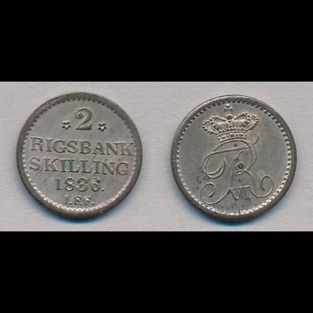 1836, Frederik VI, 2 rigsbank skilling, 0, H34,
