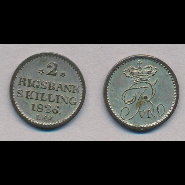 1836, Frederik VI, 2 rigsbank skilling, 01, H34,