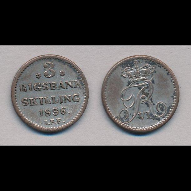 1836, Frederik VI, 3 rigsbank skilling, 1+, H33,