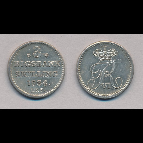 1836, Frederik VI, 3 rigsbank skilling, 0 / 01, H33,