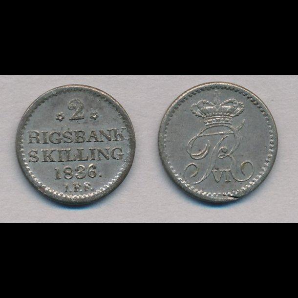1836, Frederik VI, 2 rigsbank skilling, 1++, H34,